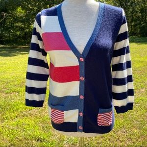 BODEN SWEATER CARDIGAN RED WHITE BLUE V-NECK 8 M